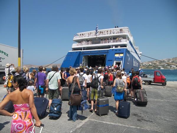 Taking a ferry in Greece